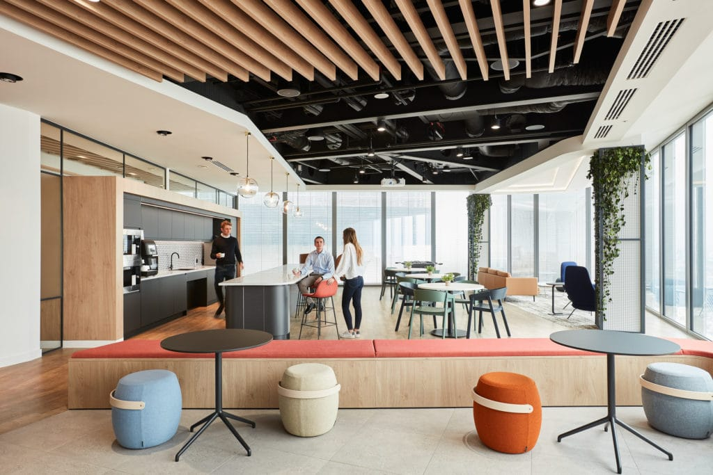 Office break out space with kitchen and seating area and panoramic view of London